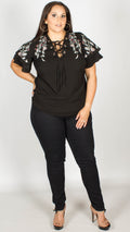 Trini Black Lace Up Embroidered Top