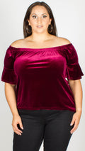 Lara Red Velvet Bardot 3/4 Sleeve Top