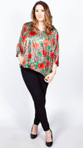 CurveWow Rose Print Cape Top