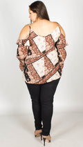 Tanika Scarf Print Cold Shoulder Top