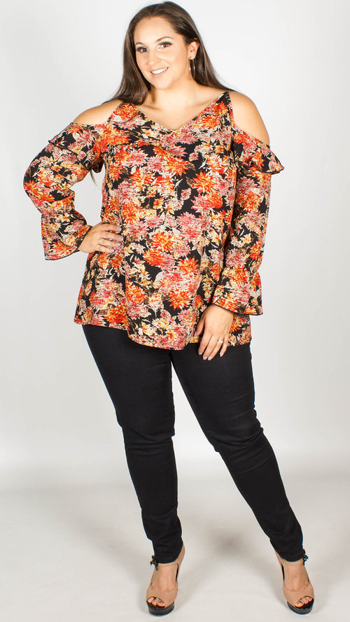 Tanika Floral Print Cold Shoulder Top