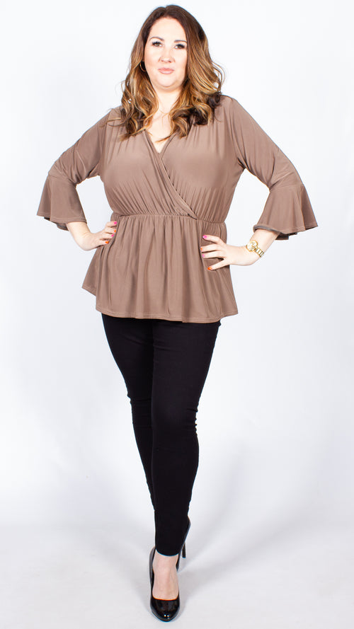 CurveWow Mocha Wrap Top with Fit & Flare Sleeves