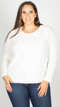 Laila White Lace Front Long Sleeve Top