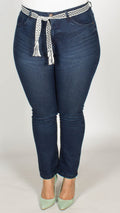 Linnea Slim Fit High Waisted Dark Denim Jeans with Belt