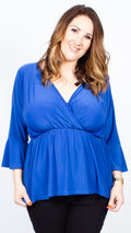 CurveWow Blue Wrap Top with Fit & Flare Sleeves