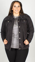 Tressa Studded Faded Black Denim Jacket