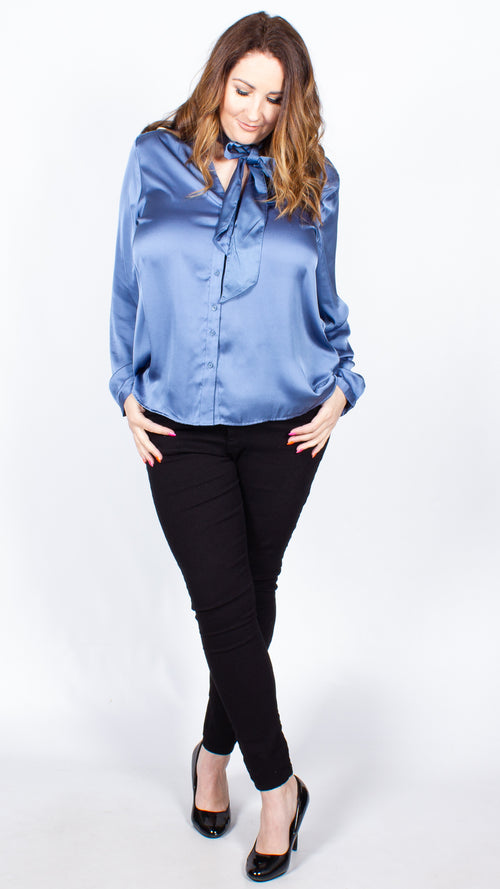 Gill Blue Satin Blouse