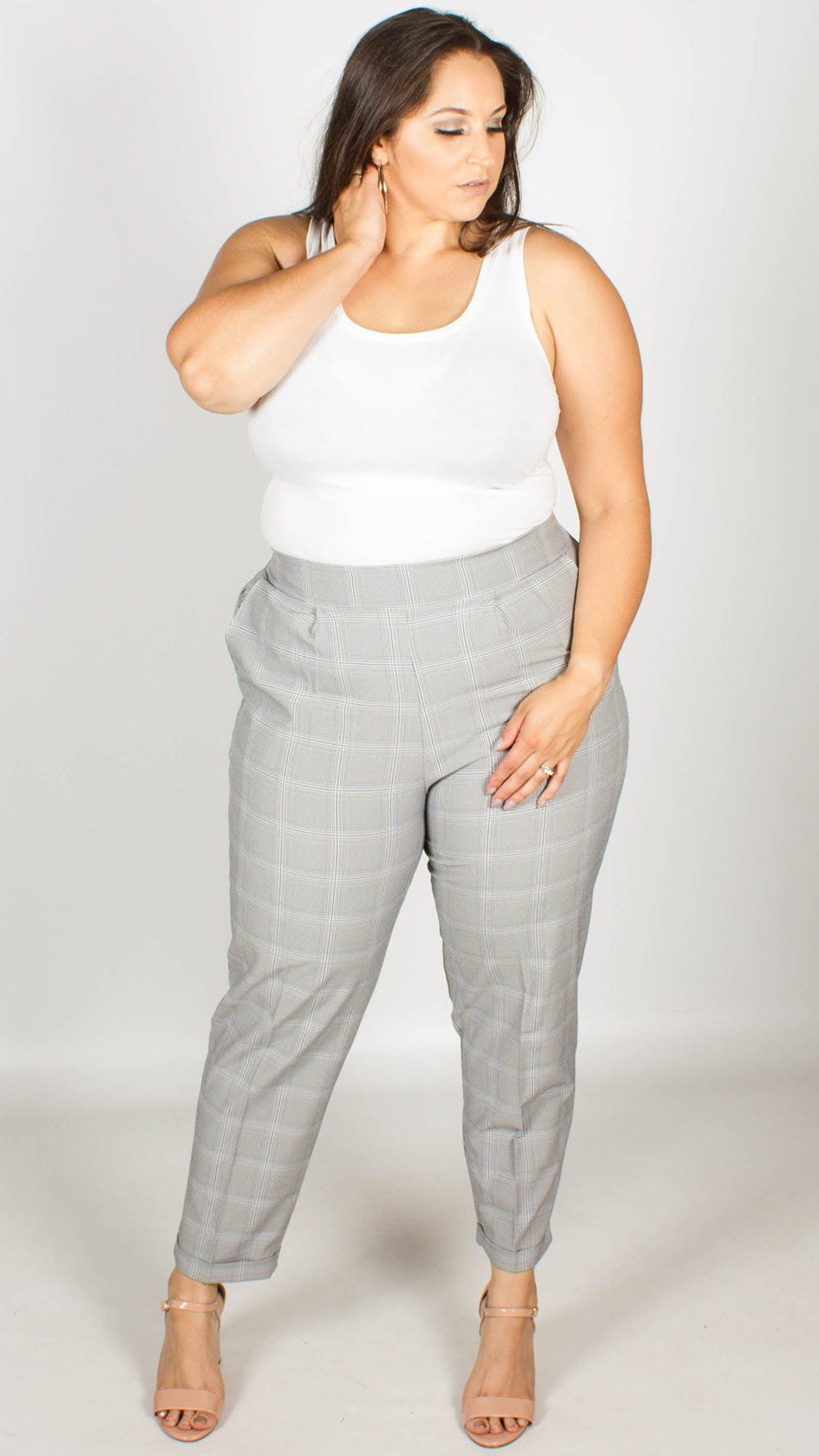 170f55a727f Tyne Grey Check Cropped Tailored Trousers – Curvewow