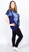 Tia Blue Printed Dip Hem Top