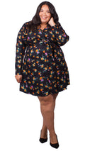 Sabrina Black Floral Wrap Dress