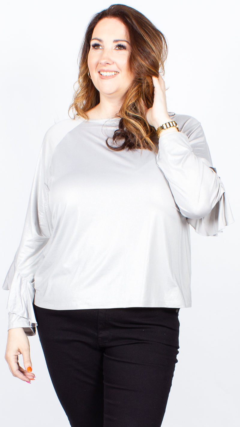 Isabelle Frill Long Sleeve Shimmer Top
