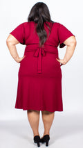 CurveWow Burgundy Short Sleeve Midi Dress