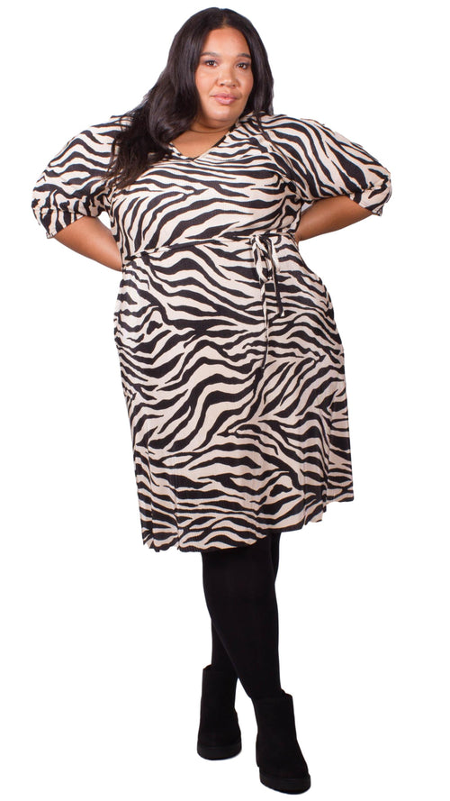 Annalise Zebra Print Plisse Dress