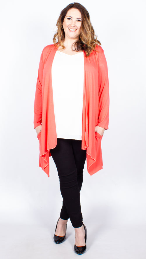 Cora Coral Open Front Jersey Cardigan
