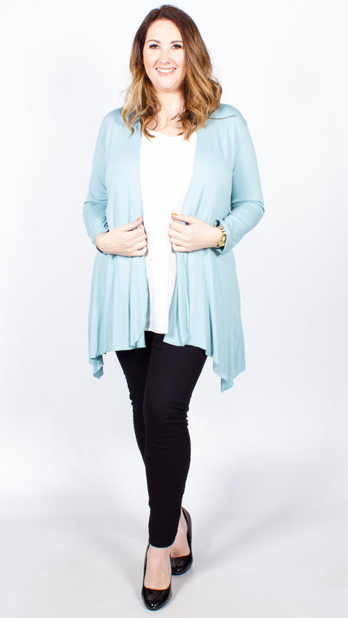 Cora Duck-Egg Blue Open Front Cardigan