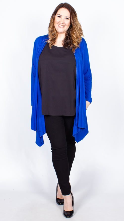 Cora Blue Open Front Jersey Cardigan