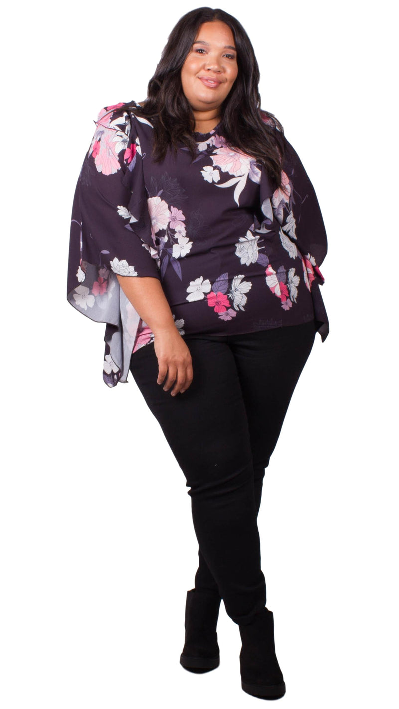 Madelynn Floral Batwing Top with Frill Detail