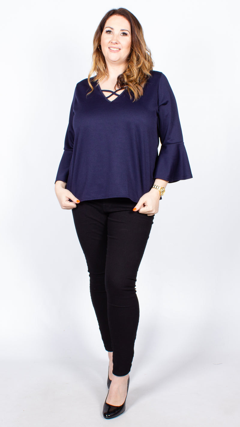CurveWow Navy Swing Top with Fit & Flare Sleeves