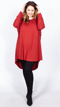 CurveWow Batwing Long Hem Dip Top Terracotta