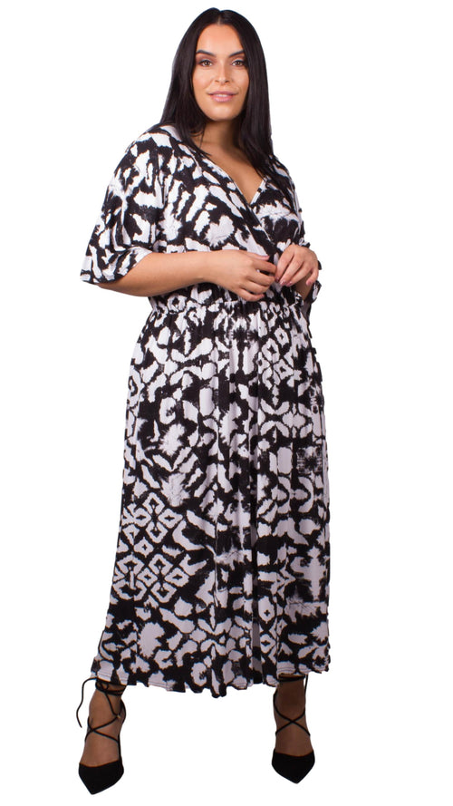 CurveWow Black & White Print Wrap Maxi Dress