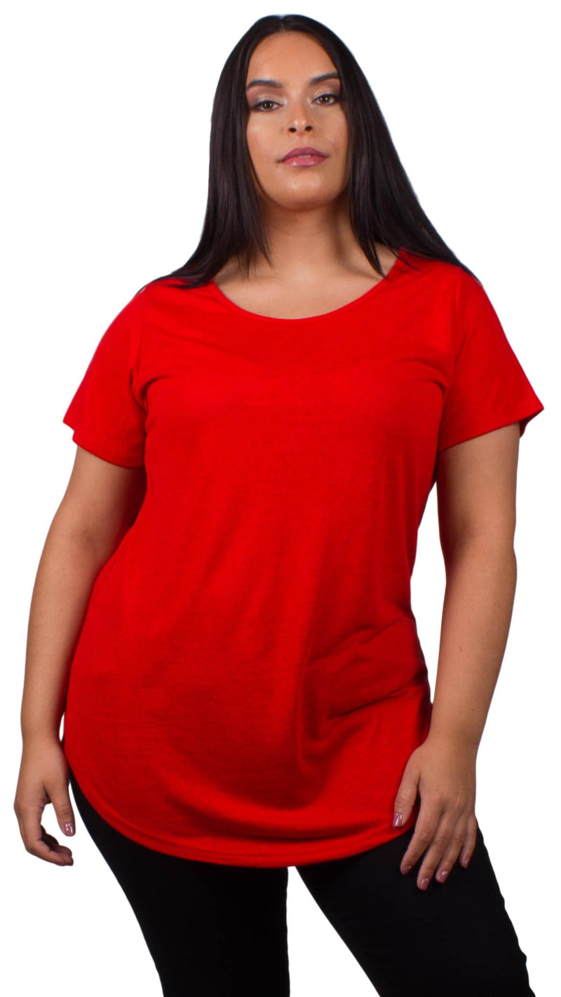 Valery Short Sleeve Curved Hem Top Red