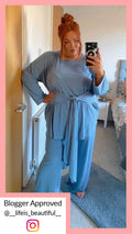 CurveWow Ribbed Wide Leg Lounge Trouser Blue
