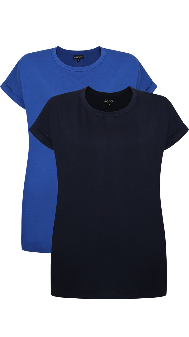 CurveWow 2 PACK Boyfriend T-Shirt - Navy & Royal Blue