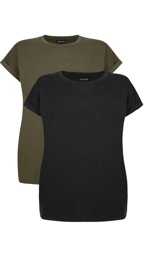 CurveWow 2 PACK Boyfriend T-Shirt - Charcoal & Olive