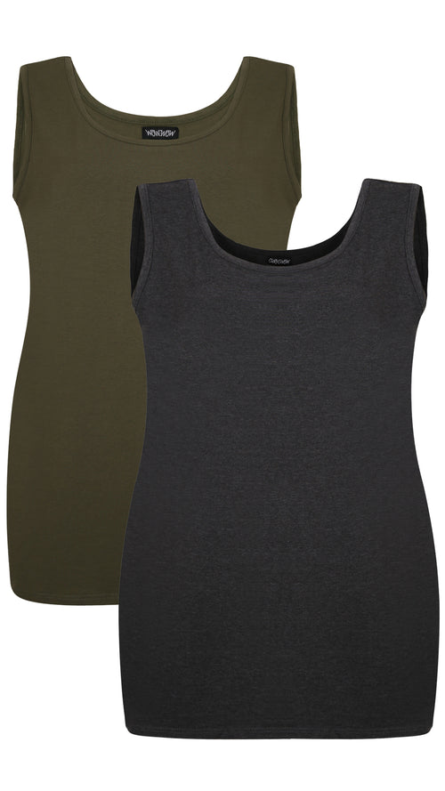 CurveWow 2 PACK Longline Vest - Charcoal & Olive