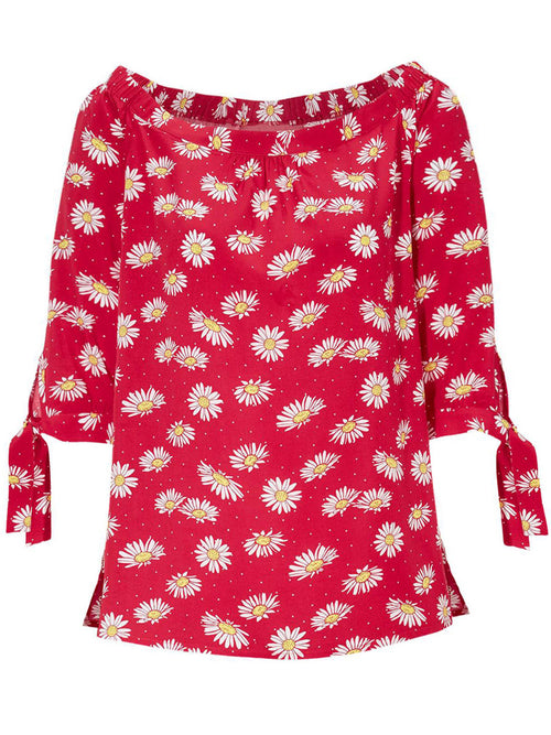 Romy Daisy Print Top Red