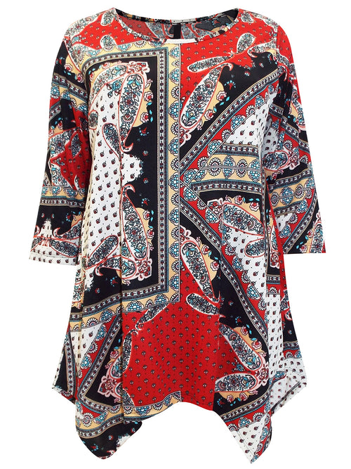 Gabriella Printed 3/4 Sleeve Tunic Top