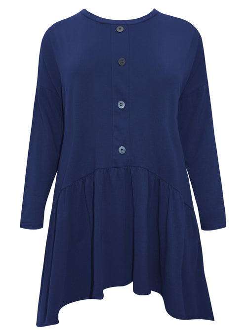 Orla Shirred Button Tunic Navy