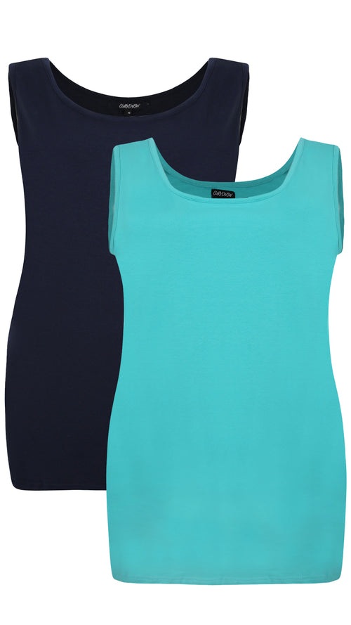 CurveWow 2 PACK Longline Vest - Navy & Turquoise