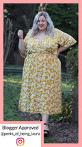 CurveWow Mustard Daisy Wrap Maxi Dress