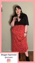 Curvewow Red Floral Maxi Skirt