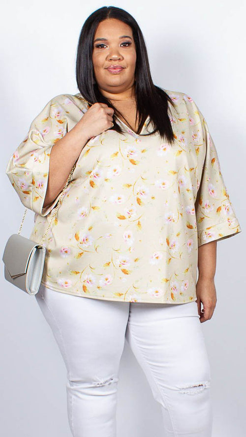CurveWow Yellow Floral Cape Top