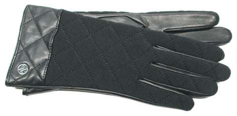 Adrienne Vittadini Glacé Leather Gloves with Quilted Spandex back, 100% Cashmere lining - AV003