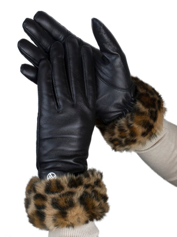 Adrienne Vittadini Glacé Leather Gloves with Fur Cuff, Cashmere Blend lining - AV142