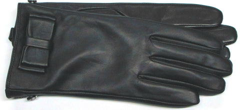 Women's leather gloves with bow