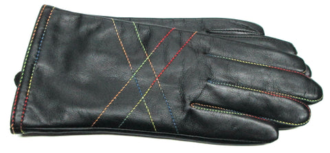 Womens Glacé Leather Rainbow Stitch Gloves with Acrylic/Wool Lining - L4185