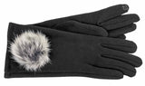 Women's Self Lined Fashion Fleece Gloves with Genuine Fur Pom and Touch Screen Technology - L4468
