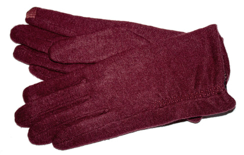Women's Wool Blend Gloves with Brushed Polyester Lining and Touch Fingers - L4519