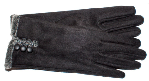 Women's Faux Suede/Faux Fur Self Lined Gloves