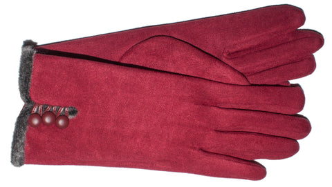 Women's Faux Suede/Faux Fur Self Lined Gloves - L4548