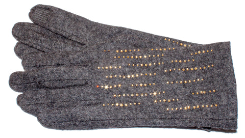 Women's Wool Blend, Self Lined Gloves with Bright Accents and Touch Fingers - L4553