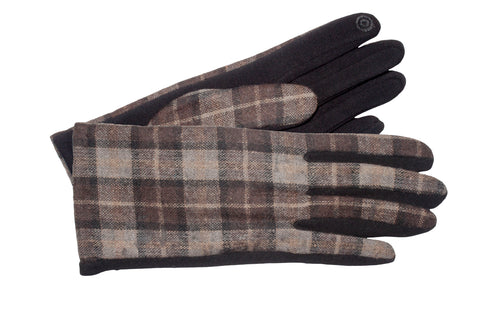 Women's Self-lined Gloves with Plaid Fabric Back, Hard Fleece Palm and Touch Fingers
