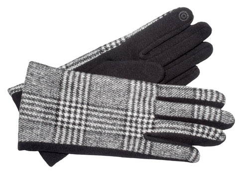 Women's Self Lined Pattern Fabric and Fashion Fleece Gloves with Touch Screen Technology - L4595