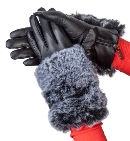 Women's Glace leather with Faux Fur Cuff Glove - L4634