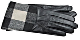 Women's Glace Leather/Patterned Fabric Gloves with Touch Fingers - L4647