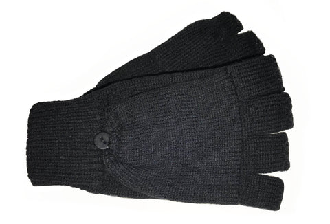 Women's Flip Top Knit Mittens with Button Closure - L4676